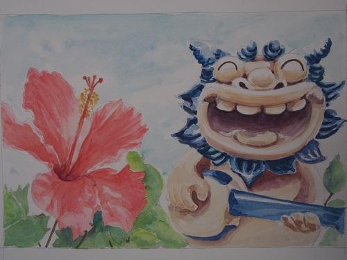 水彩画で沖縄のハイビスカスと、三線をひくシーサーを描いてみました。